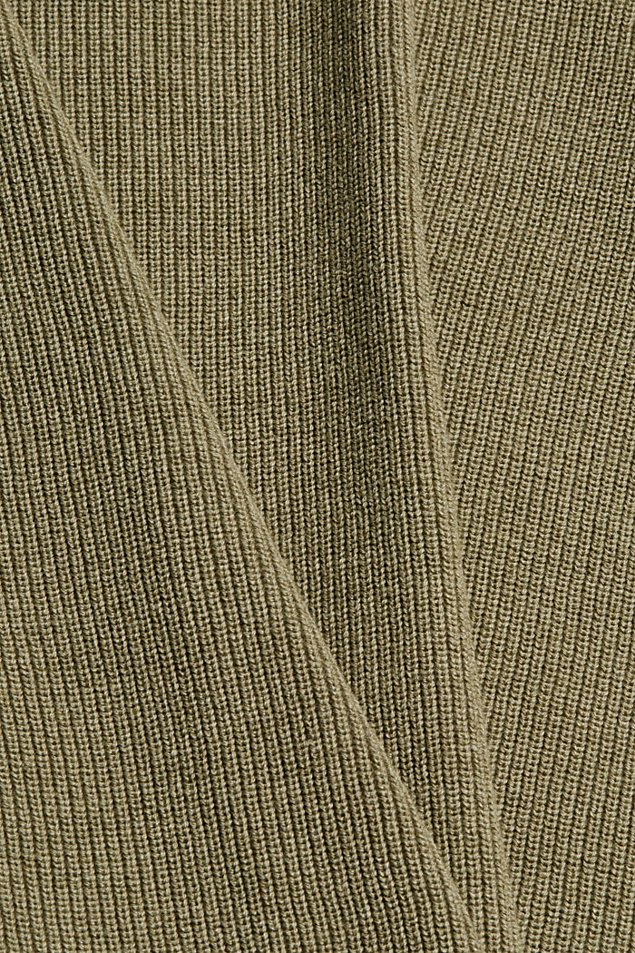 Rippstrick-Pullover aus 100% Bio-Baumwolle, PALE KHAKI, detail image number 4