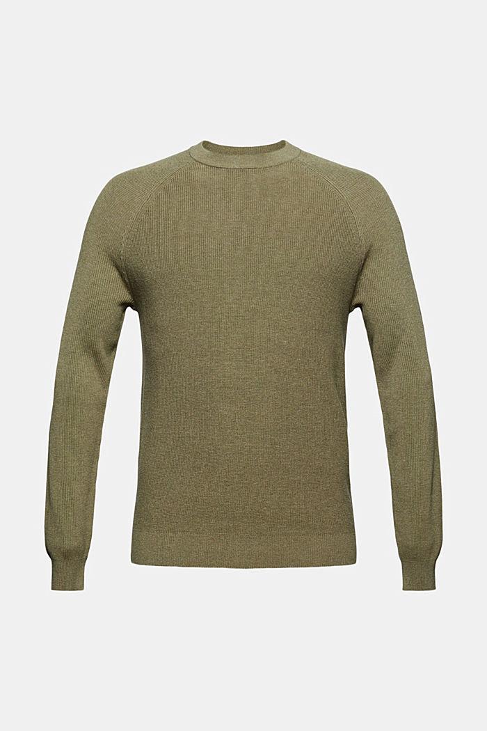 Rippstrick-Pullover aus 100% Bio-Baumwolle, PALE KHAKI, detail image number 5