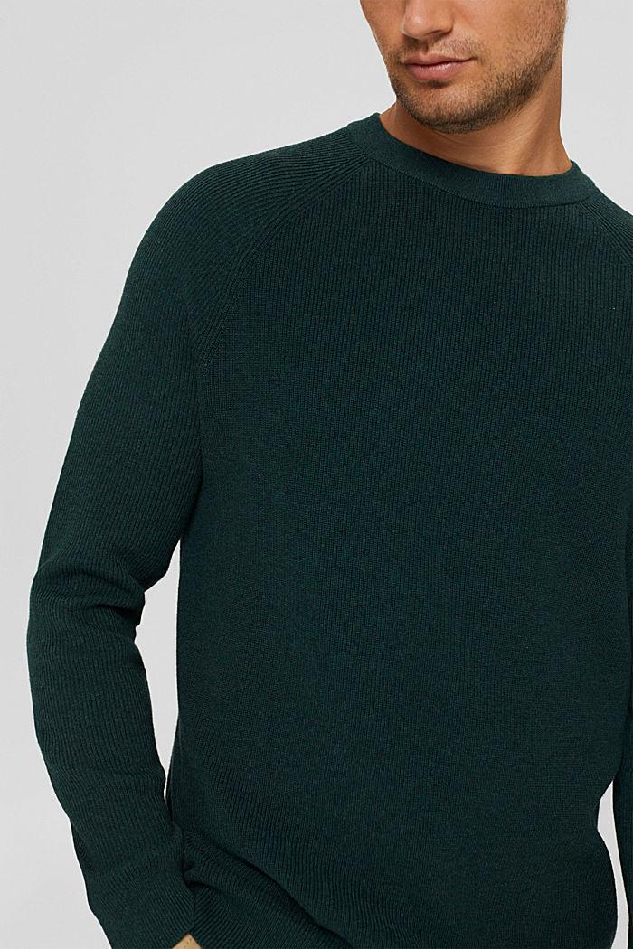 Pull-over en maille côtelée, 100% coton biologique, TEAL BLUE, detail image number 2