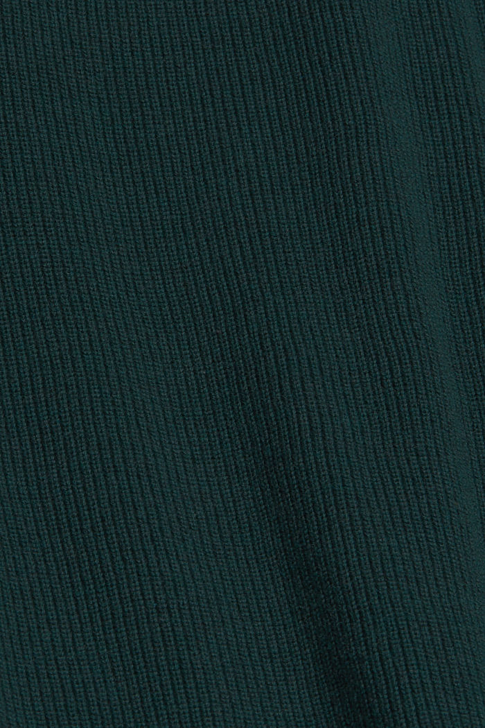 Pull-over en maille côtelée, 100% coton biologique, TEAL BLUE, detail image number 4