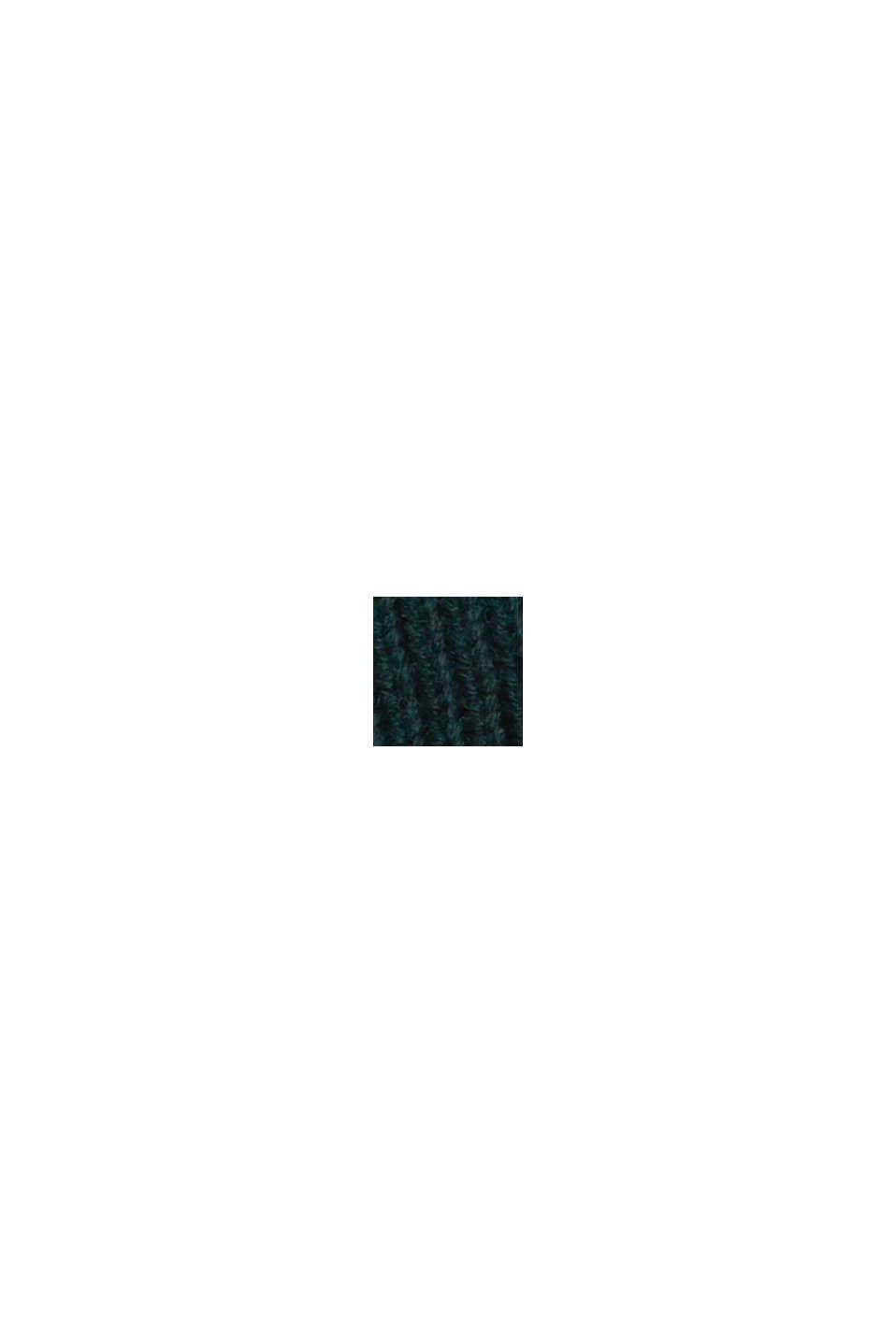 Pull-over en maille côtelée, 100% coton biologique, TEAL BLUE, swatch