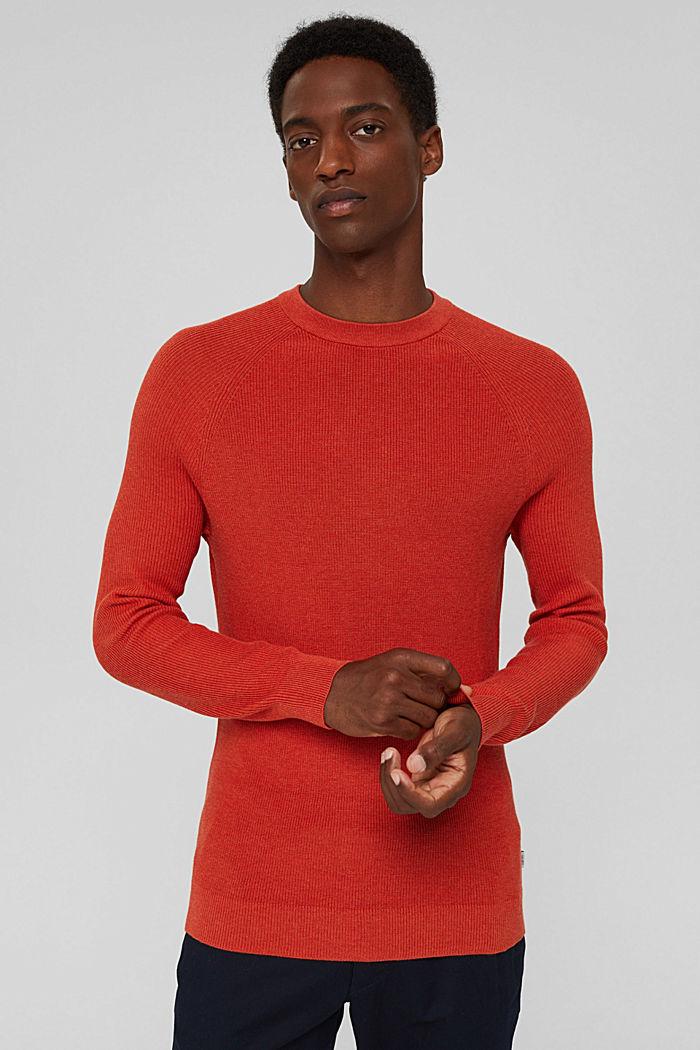 Rib knit jumper made of 100% cotton, ORANGE, detail image number 0
