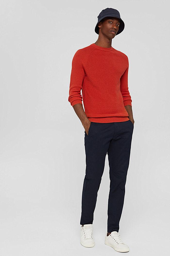 Rib knit jumper made of 100% cotton, ORANGE, detail image number 1