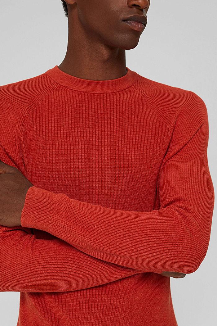 Rib knit jumper made of 100% cotton, ORANGE, detail image number 2