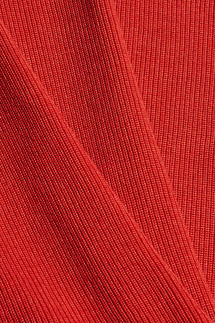 Rib knit jumper made of 100% cotton, ORANGE, detail image number 4