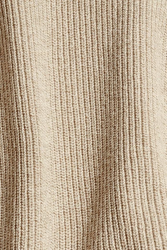 Melierter Cardigan aus Bio-Baumwoll-Mix, BEIGE, detail image number 4