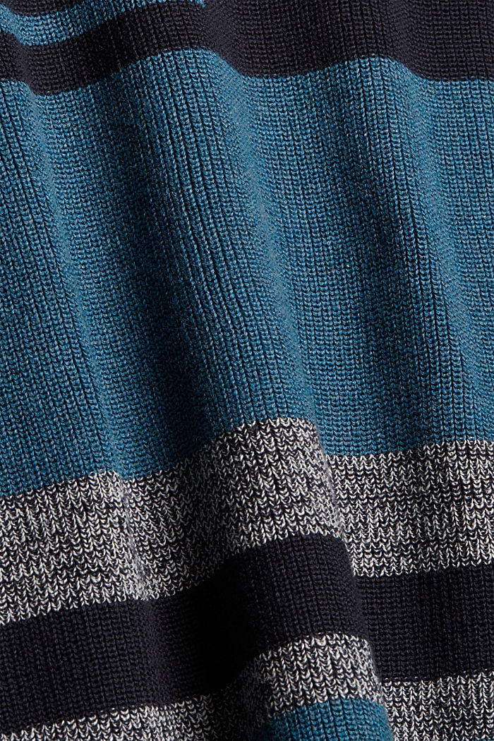 Pull-over à rayures, 100% coton bio, NAVY BLUE, detail image number 4