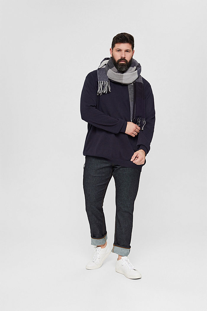 Feinstrick-Pullover aus 100% Pima Baumwolle, NAVY, detail image number 1
