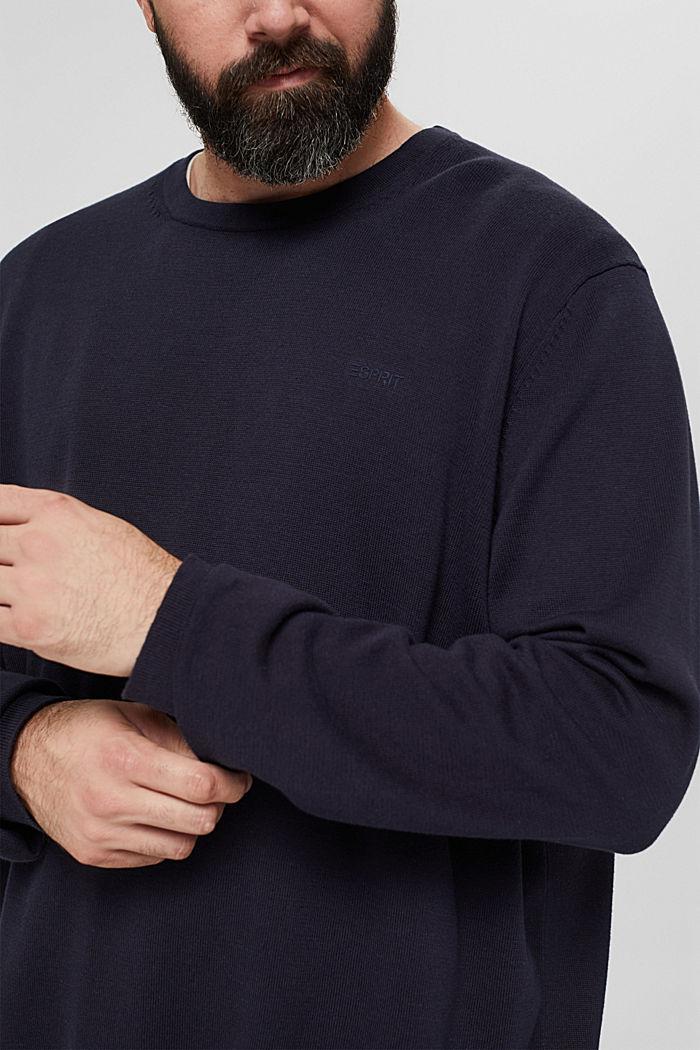 Feinstrick-Pullover aus 100% Pima Baumwolle, NAVY, detail image number 2