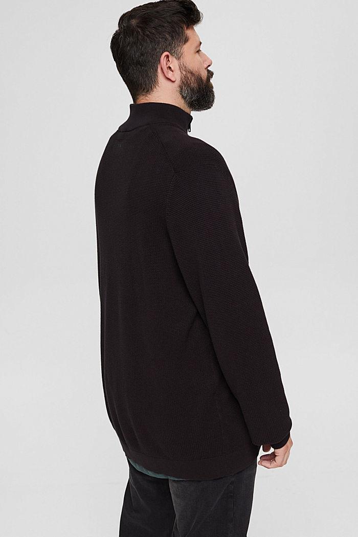 Troyer mit Waffel-Struktur, 100% Pima Baumwolle, BLACK, detail image number 3