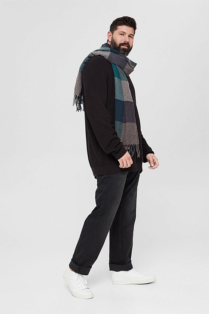 Troyer mit Waffel-Struktur, 100% Pima Baumwolle, BLACK, detail image number 1