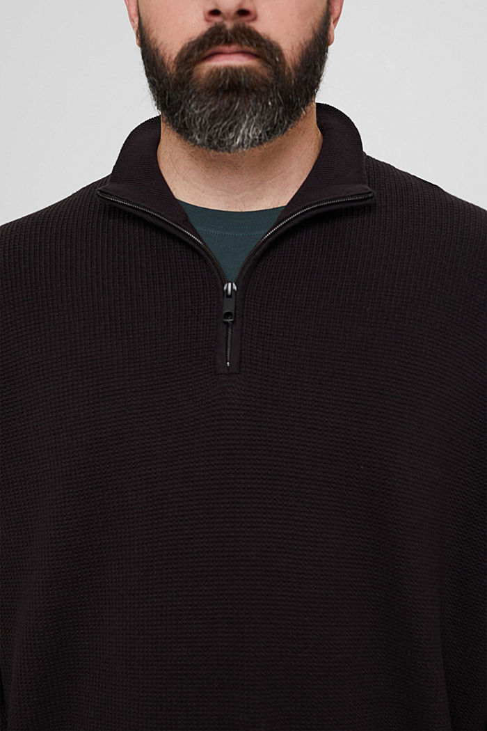 Troyer mit Waffel-Struktur, 100% Pima Baumwolle, BLACK, detail image number 2