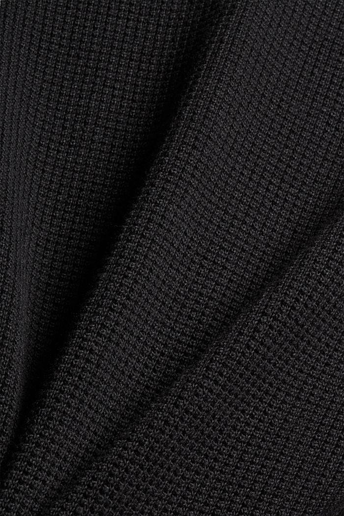 Troyer mit Waffel-Struktur, 100% Pima Baumwolle, BLACK, detail image number 4