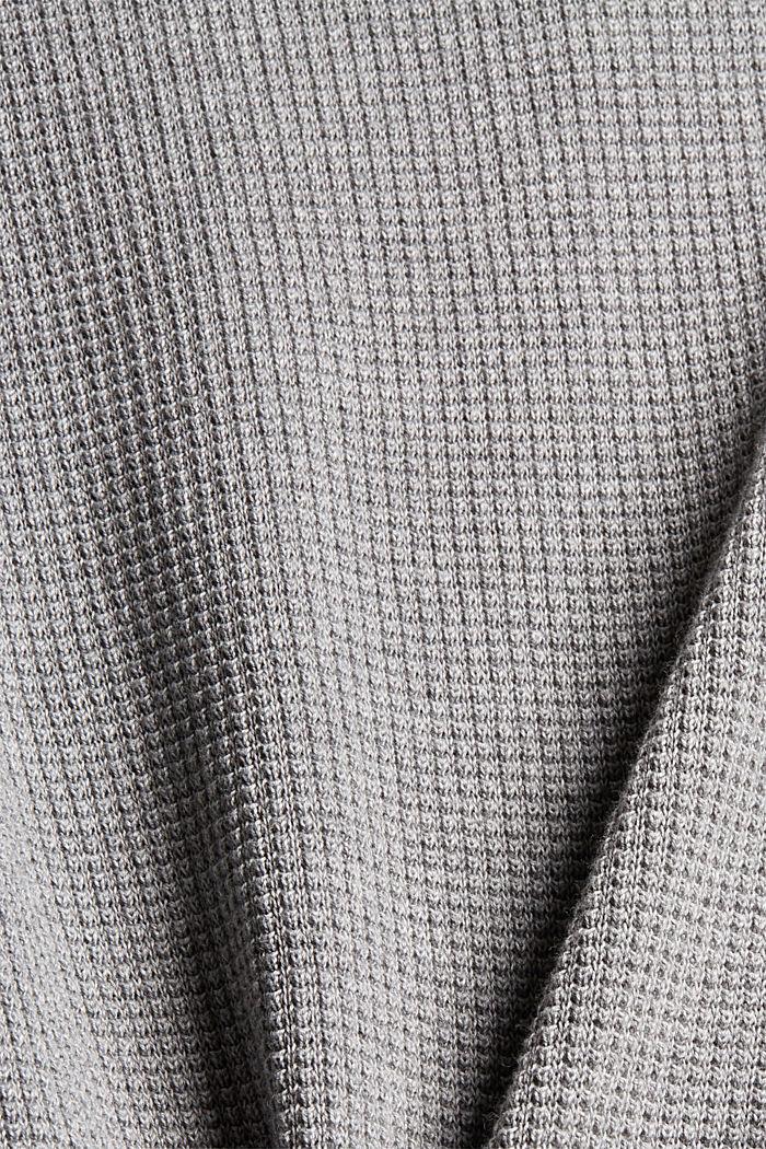 Schipperstrui met wafelstructuur, 100% pima katoen, MEDIUM GREY, detail image number 1