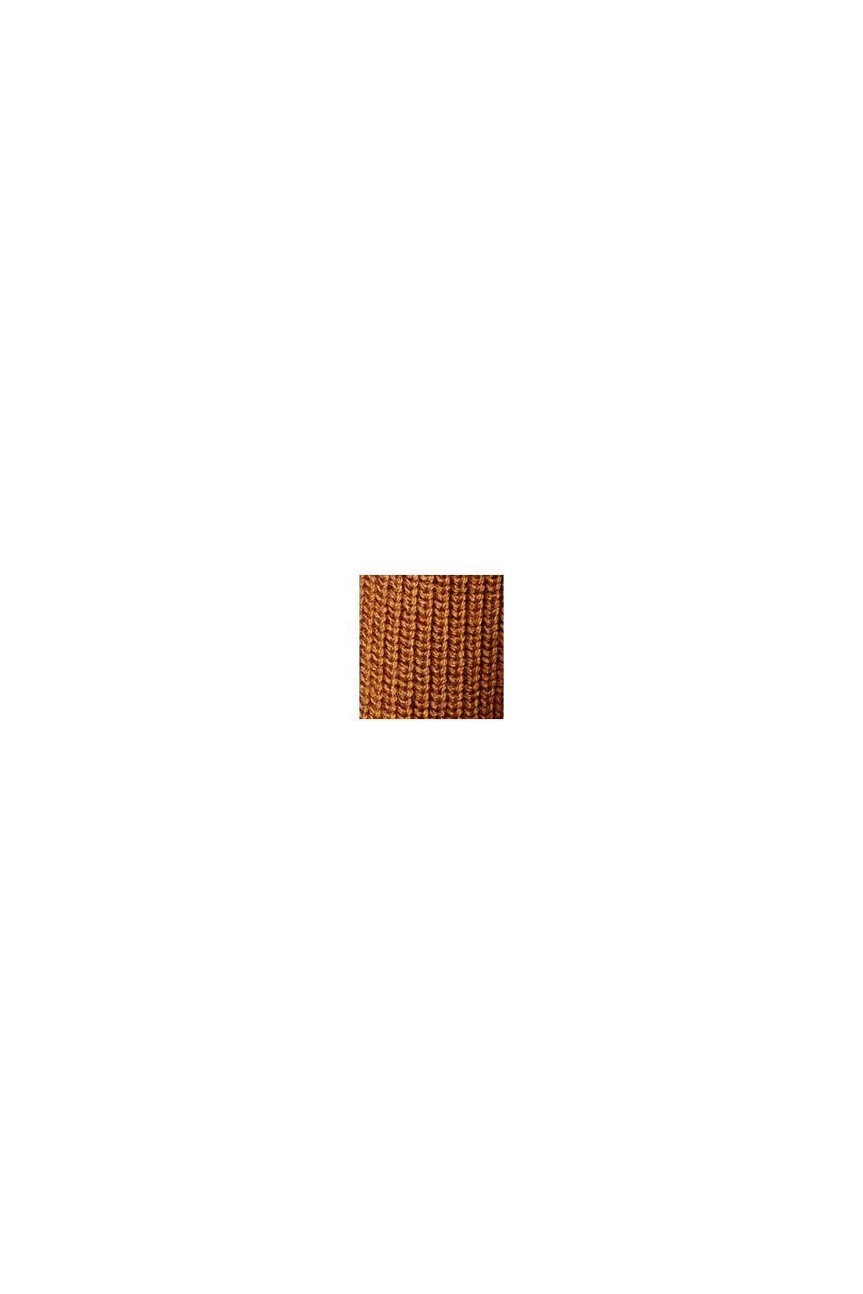 Pullover dolcevita in 100% cotone biologico, CAMEL, swatch