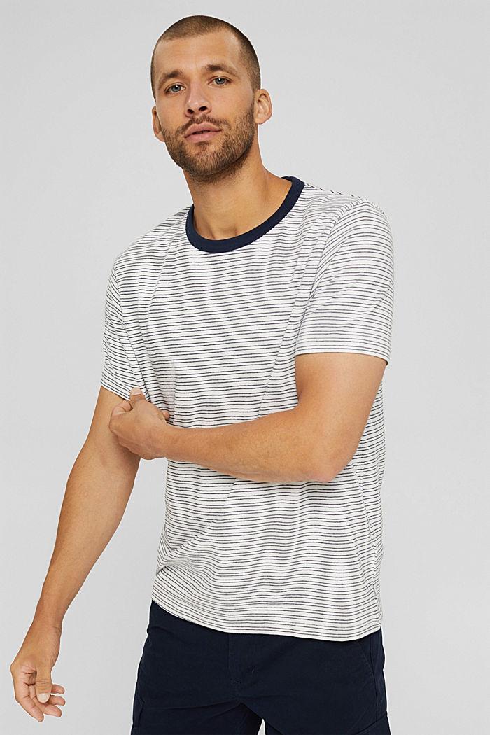 T-shirt rayé en jersey, 100% coton biologique, OFF WHITE, detail image number 0