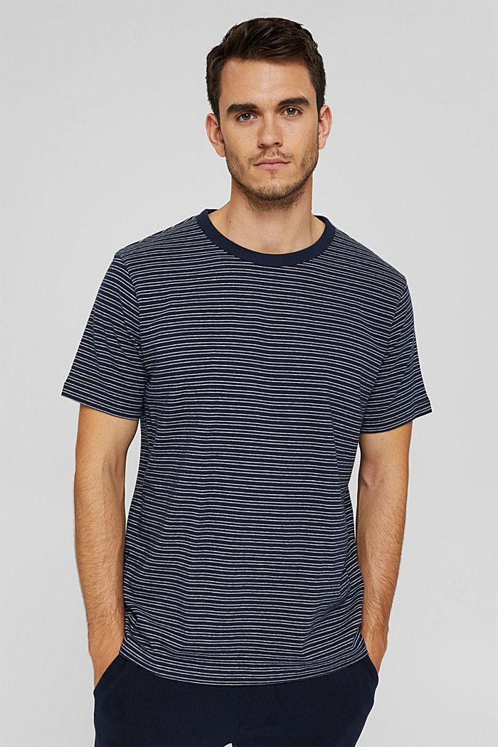 T-shirt rayé en jersey, 100% coton biologique, NAVY, detail image number 0