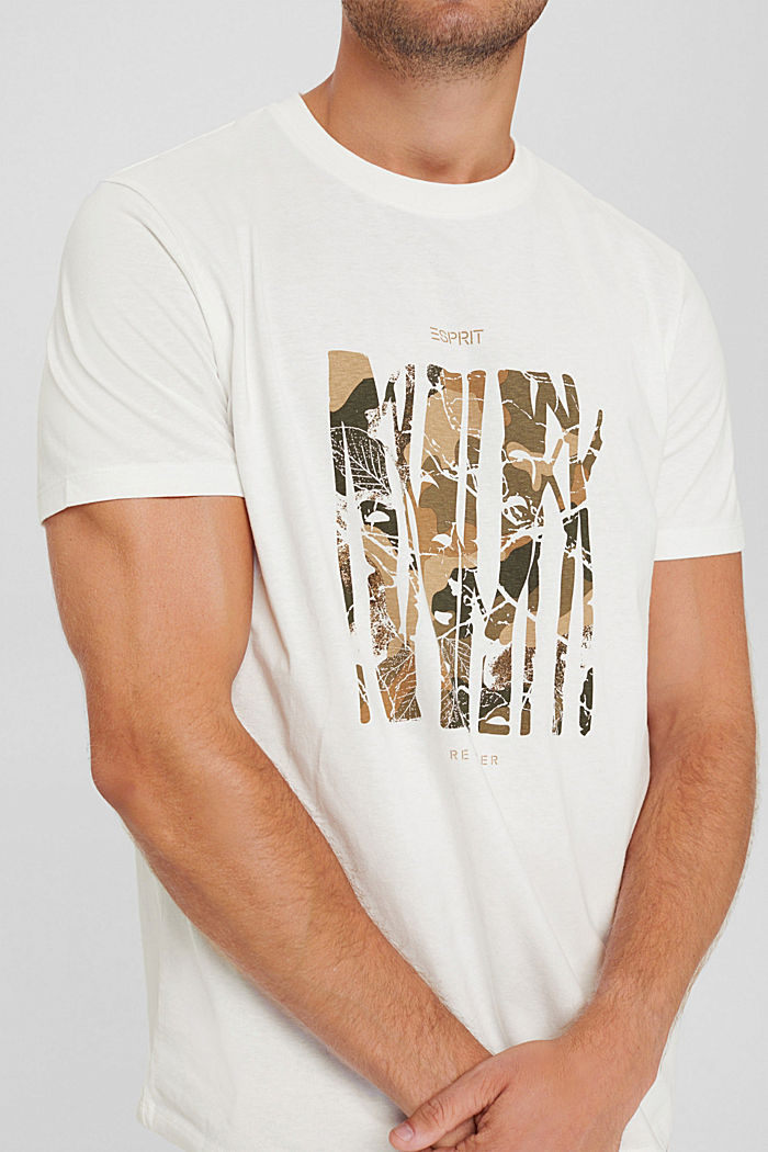 Recycled: jersey T-shirt made of cotton, OFF WHITE, detail image number 1