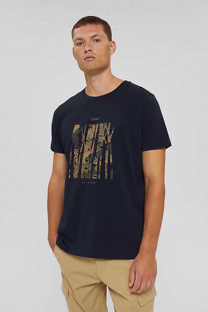 Gerecycled: jersey T-shirt van katoen, NAVY, detail image number 0