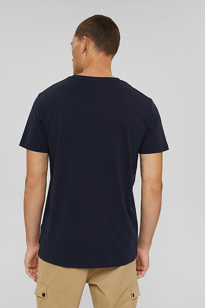 Gerecycled: jersey T-shirt van katoen, NAVY, detail image number 3