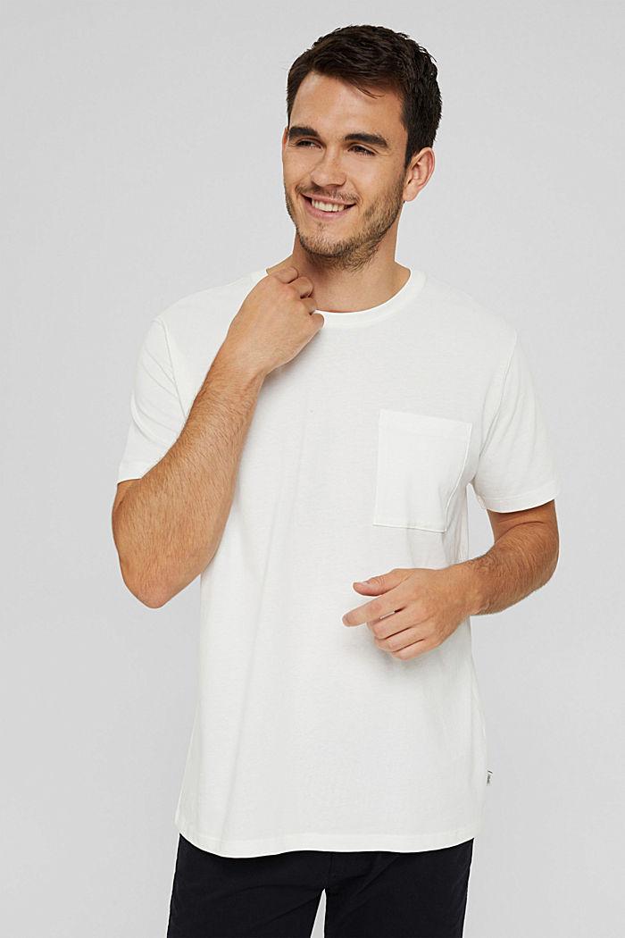 Jersey shirt met zak, biologisch katoen, OFF WHITE, detail image number 0