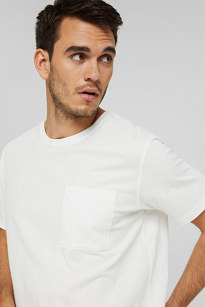 T-shirt i jersey med ficka, ekologisk bomull
