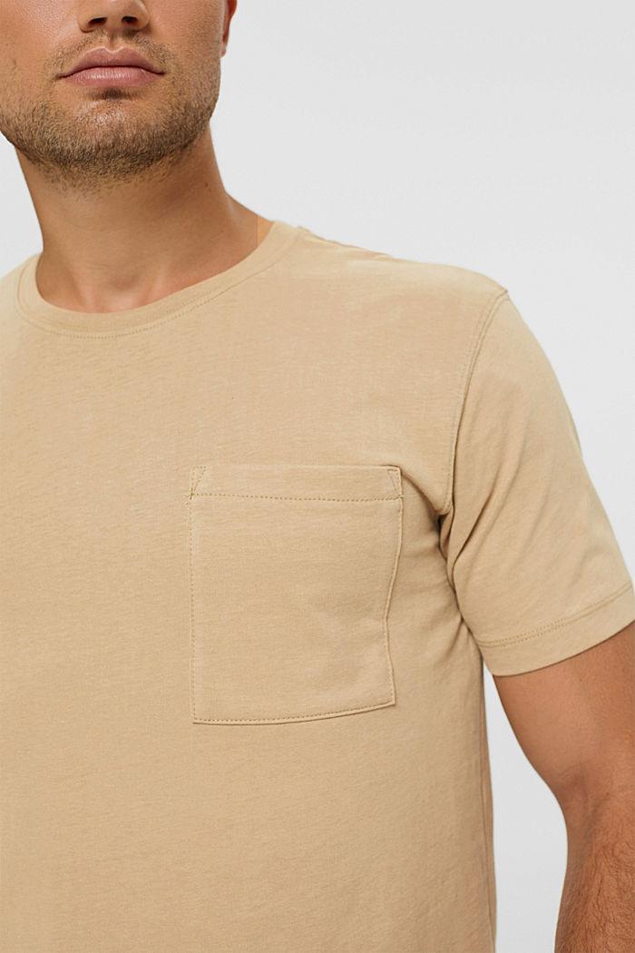 Haut en jersey doté d'une poche, coton biologique, BEIGE, detail image number 1