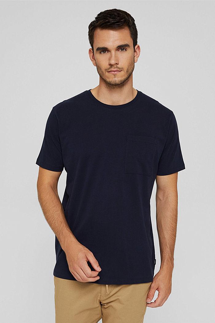Jersey shirt met zak, biologisch katoen, NAVY, detail image number 0