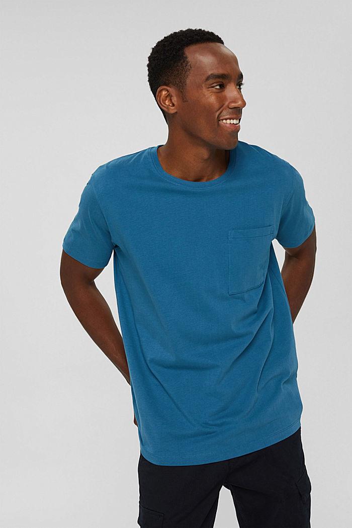 Jersey shirt met zak, biologisch katoen, PETROL BLUE, detail image number 0