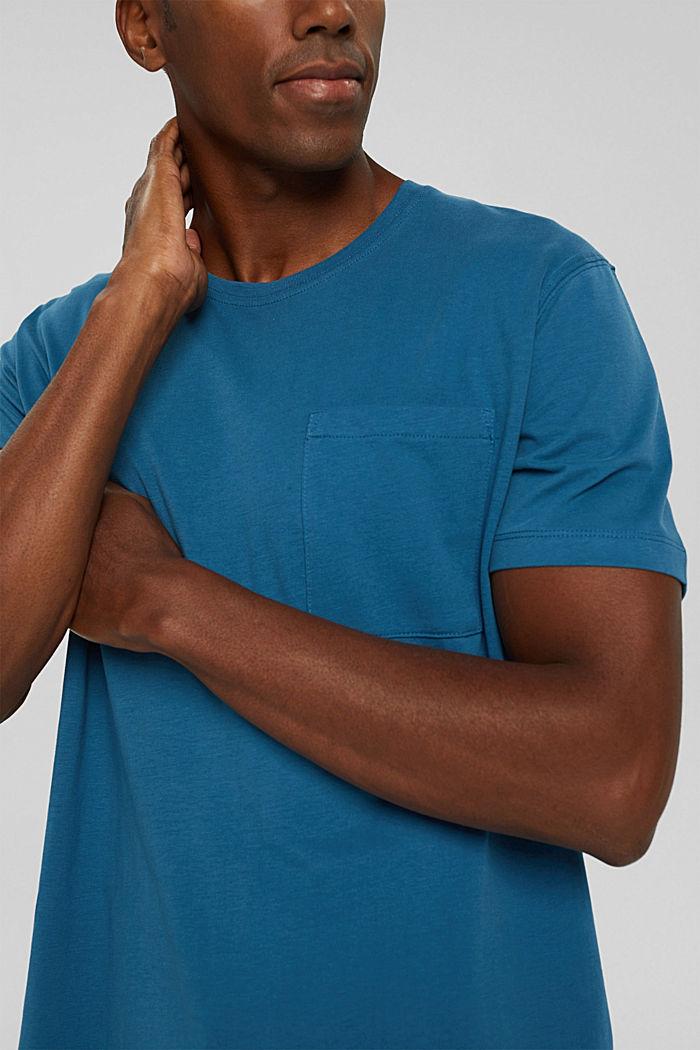 Jersey shirt met zak, biologisch katoen, PETROL BLUE, detail image number 1