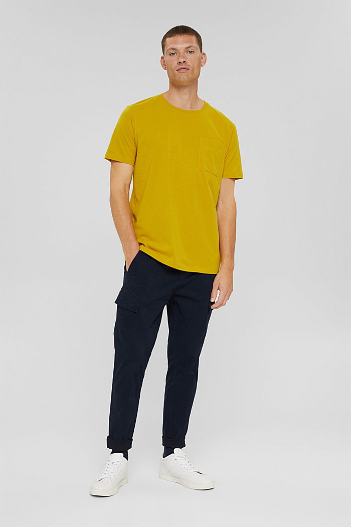 Jersey-Shirt mit Tasche, Organic Cotton, YELLOW, detail image number 2