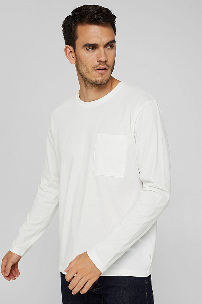 Jersey long sleeve top in organic cotton, OFF WHITE, detail image number 0