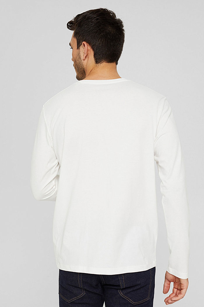 Jersey long sleeve top in organic cotton, OFF WHITE, detail image number 3