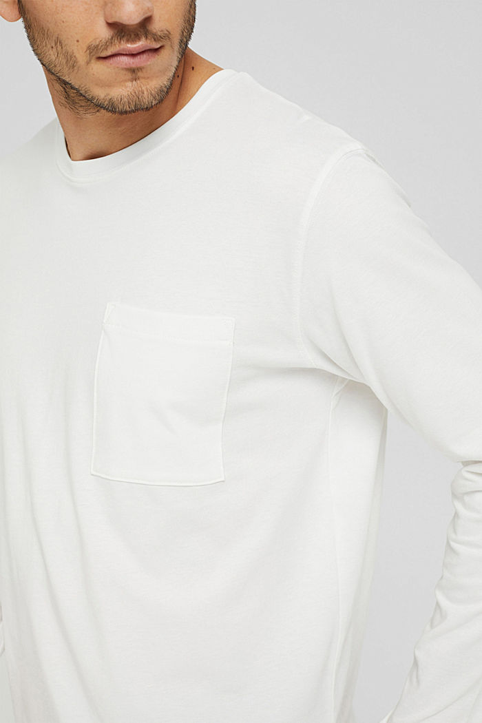 Jersey long sleeve top in organic cotton, OFF WHITE, detail image number 1