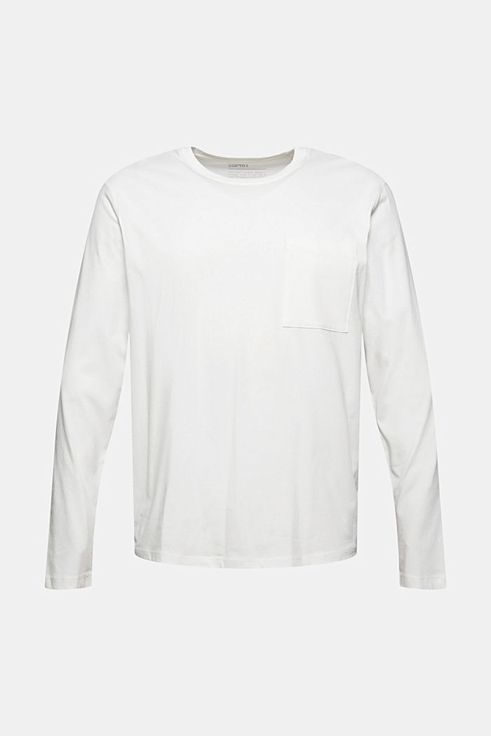 Jersey long sleeve top in organic cotton, OFF WHITE, detail image number 6