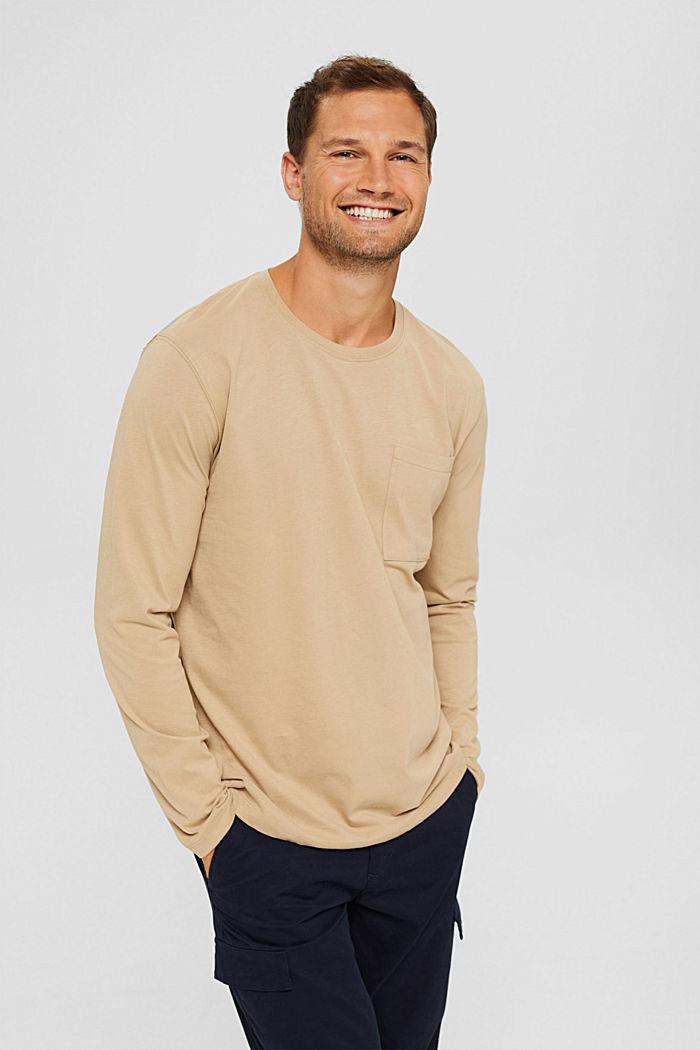 Camiseta de manga larga confeccionada en jersey de algodón ecológico, BEIGE, detail image number 0