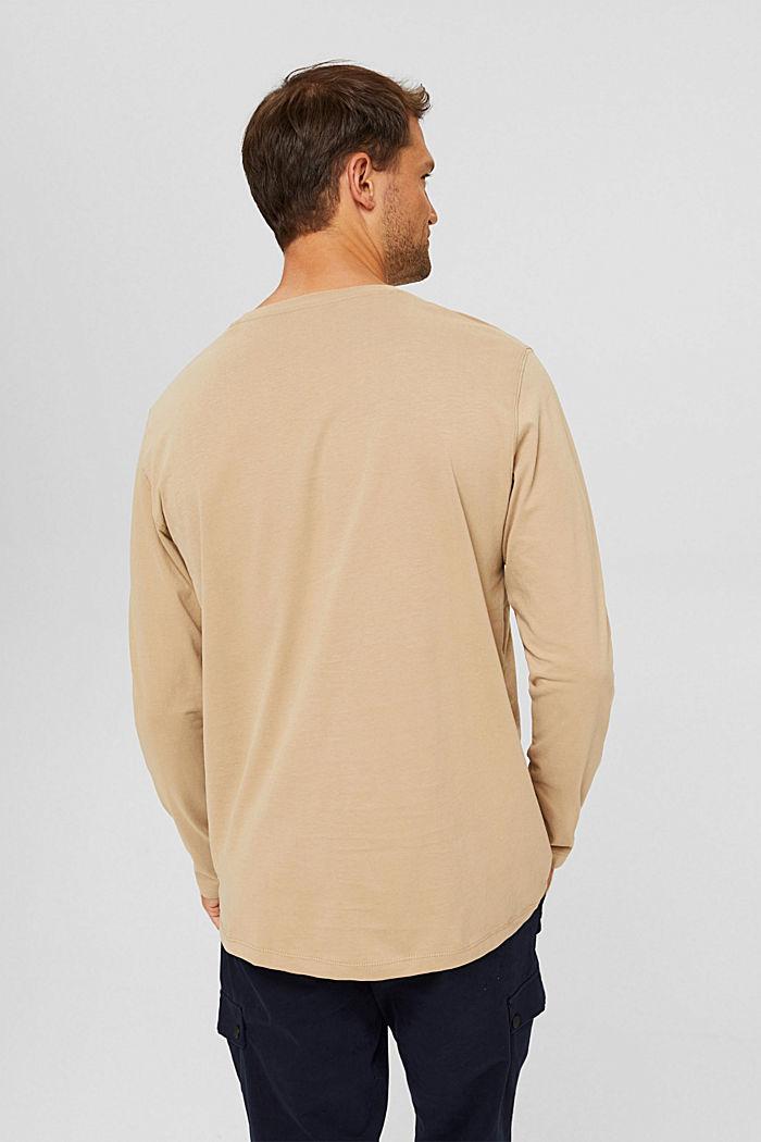 Camiseta de manga larga confeccionada en jersey de algodón ecológico, BEIGE, detail image number 3
