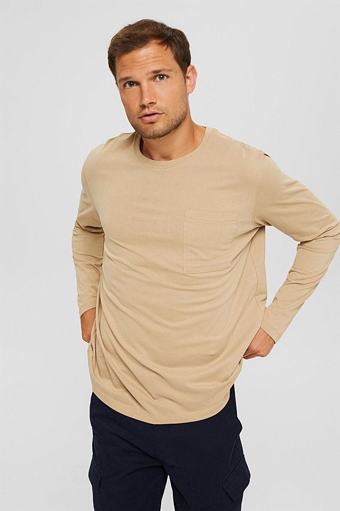 Camiseta de manga larga confeccionada en jersey de algodón ecológico, BEIGE, detail image number 4