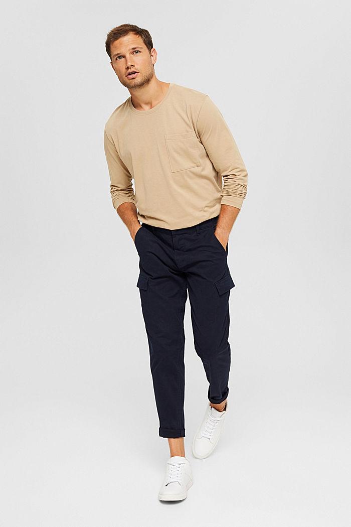 Camiseta de manga larga confeccionada en jersey de algodón ecológico, BEIGE, detail image number 2