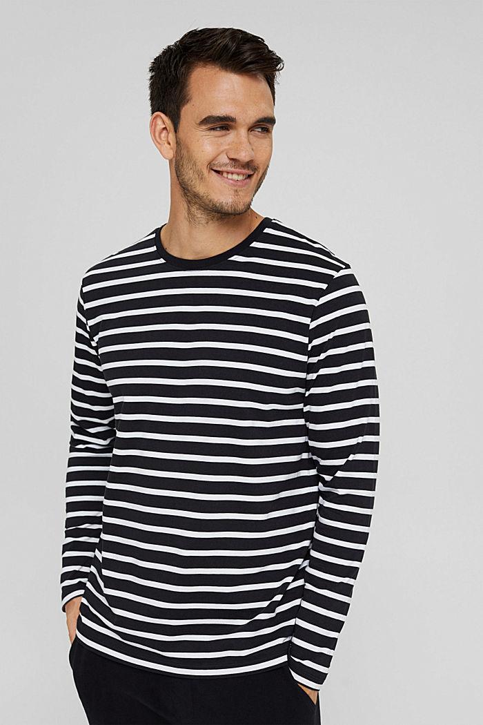 Jersey-Longsleeve mit Streifen, Organic Cotton, BLACK, detail image number 0