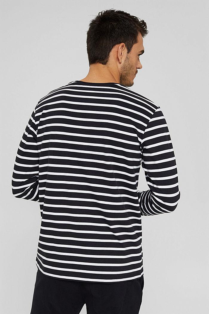 Jersey-Longsleeve mit Streifen, Organic Cotton, BLACK, detail image number 3