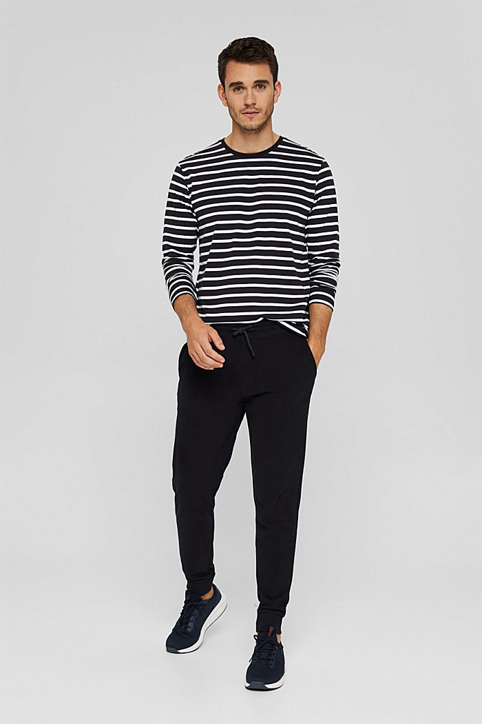 Jersey-Longsleeve mit Streifen, Organic Cotton, BLACK, detail image number 2