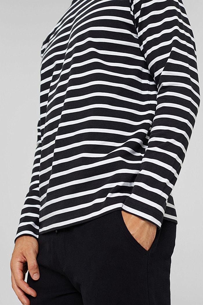 Jersey-Longsleeve mit Streifen, Organic Cotton, BLACK, detail image number 1