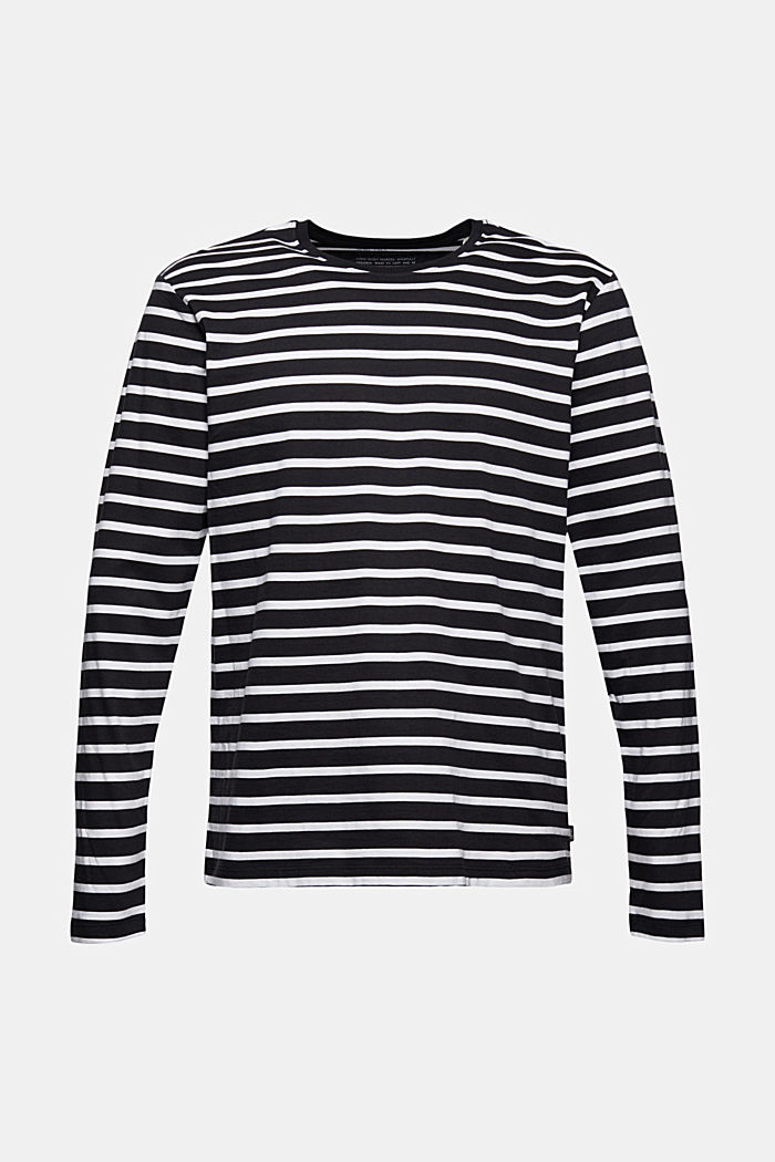 Jersey long sleeve top with stripes, organic cotton