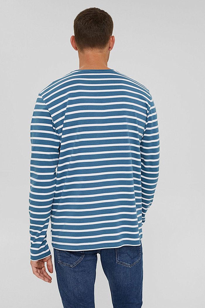 T-shirt à manches longues rayé en jersey, coton biologique, PETROL BLUE, detail image number 3
