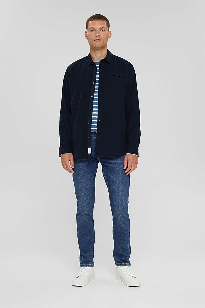 T-shirt à manches longues rayé en jersey, coton biologique, PETROL BLUE, detail image number 2