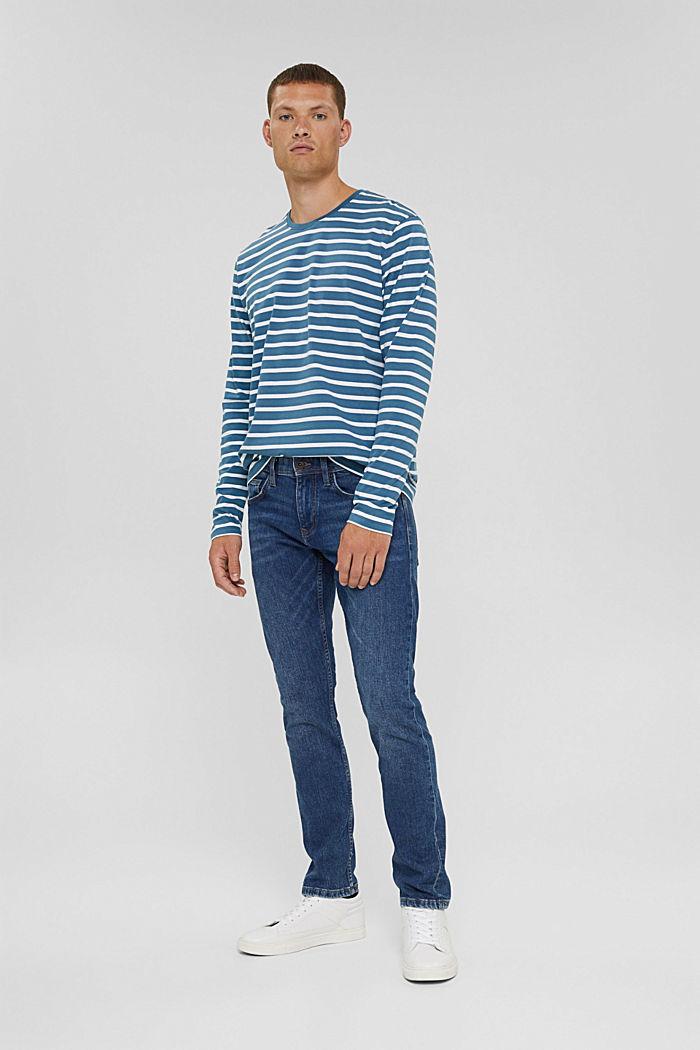 T-shirt à manches longues rayé en jersey, coton biologique, PETROL BLUE, detail image number 5