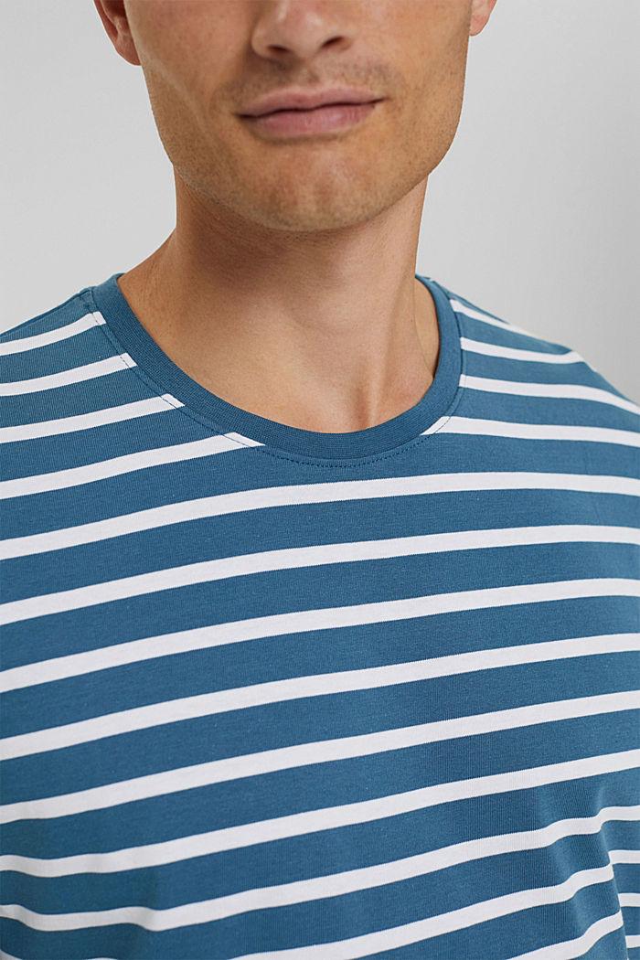 T-shirt à manches longues rayé en jersey, coton biologique, PETROL BLUE, detail image number 1