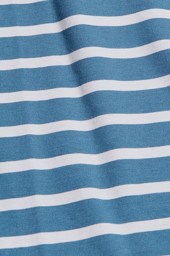 T-shirt à manches longues rayé en jersey, coton biologique, PETROL BLUE, detail image number 4