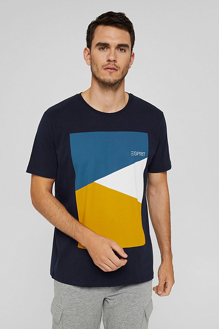 Jersey T-shirt with a print, 100% organic cotton, NAVY, detail image number 0